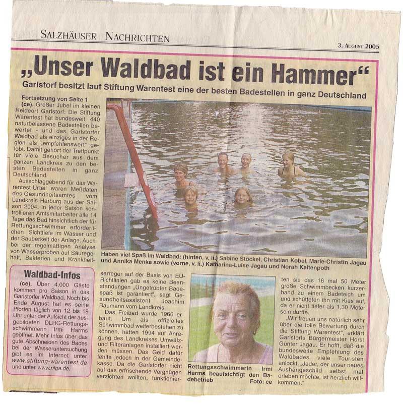 Zeitungsausschnitt 03.08.2005 - Beste Badeanstalt