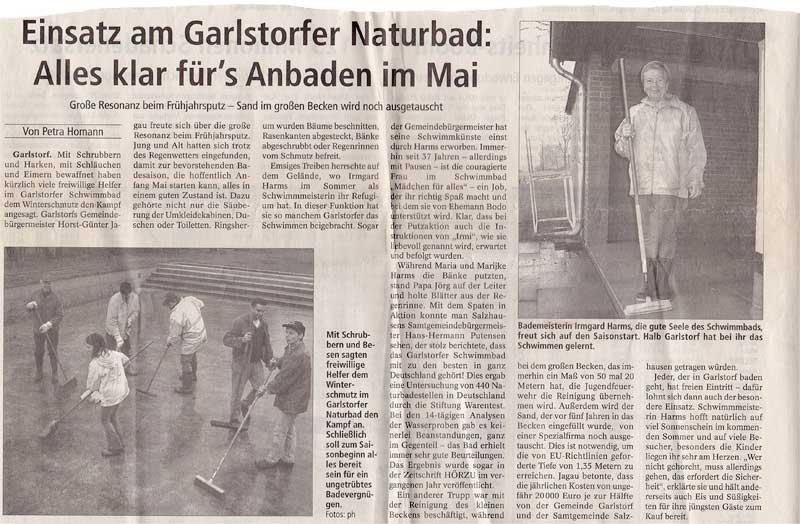 Zeitungsausschnitt 2005 - Anbaden Garlsdorfer Naturbad
